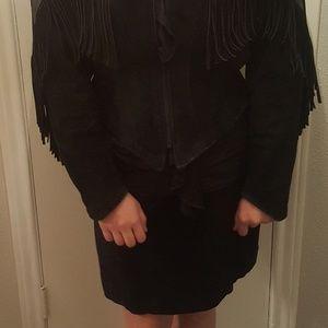 Vngt Leather Suede Fringe Jacket and Mini Skirt
